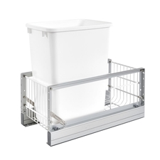 Rev-A-Shelf 5349-15DM-1 Single 35 Quart Pullout Waste Bin - White Polymer