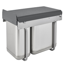 Rev-A-Shelf 8-785-30-2SS Double Under Sink Mount Waste Containers - Stainless SteelRev-A-Shelf 8-785-30-2SS Poubelle Double Montée Sous Évier - Acier Inoxydable