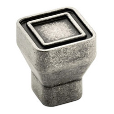 Amerock BP53025-AP Galleria Polara Square Knob - 24mm - Aged Pewter
