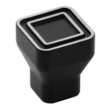 Amerock BP53025-SBK Polara Collection Square Knob - 24mm - Silvered Black