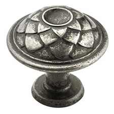 Amerock BP53027-AP Padma Collection Round Feather Knob - 33mm - Aged Pewter