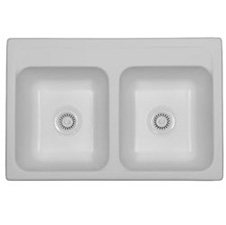 Equal Acrylic Double Bowl Sink White
