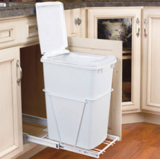 Rev-A-Shelf RV-12PB-LE 35 QT Single Bottom Mount w/Lid Full Extension White Wire Waste Container