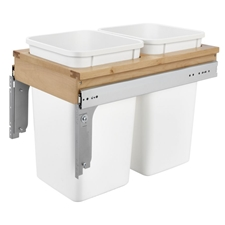 Rev-A-Shelf 4WCTM-15DM2-343-FL Double 27 Quart Frameless Side-Mount Pull Out Waste Container