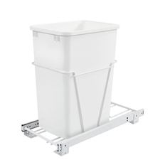 Rev-A-Shelf RV-12PB-L 35 QT Single Bottom Mount w/Lid 3/4 Extension White Wire Waste Containers