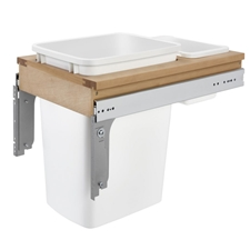 Rev-A-Shelf 4WCTM12DM1.343FL Single 35 Quart Top Mount Frameless Waste Container