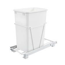 Rev-A-Shelf RV-12PB-50 Single 50 Quart Bottom Mount White Wire 3/4 Extension Slide Waste Containers
