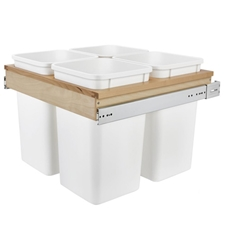 Rev-A-Shelf 4WCTM-27-4 Four 27-Qt. Top Mount Waste Containers - White