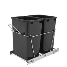 Rev-A-Shelf RV-18KD-18C S Double 35-QT Double Bottom Mount Chrome Wire Waste Containers