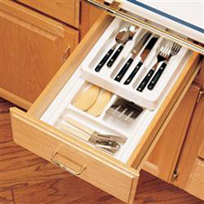 Rev-A-Shelf RT 12-4F Cut-To-Size Cutlery Organizer with Full Upper Rolling Tray 11 3/4-Inch  to 14 1/2-InchRev-A-Shelf RT 12-4F Diviseur à Couverts - 2 Étages - Plateau Roulant Supérieur Plein - 11 3/4