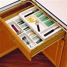 Rev-A-Shelf RT 14-4F Cut-To-Size Cutlery Organizer with Full Upper Rolling Tray 14 3/4-Inch  to 17 3/4-Inch