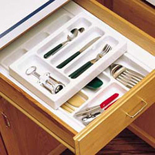 Rev A Shelf RT 14-4H Cut-To-Size Cutlery Organizer with Half Upper Rolling Tray 14 3/4-Inch to 17 1/2-Inch