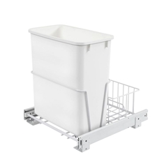 Rev-A-Shelf RV-14PB S Single 20-Quart Pullout Waste Container with rear basket - white Polymer