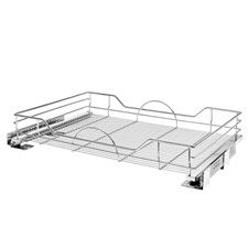 "Rev A Shelf 5730-33-CR Base Cabinet Pullout 33"" Single Wire Shelf Basket with Soft-Close"