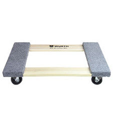 "Wurth 25-1/2 Inch Hardwood Carpet End Dolly - 3"" Casters, 1,000 lb. Capacity - Open Deck"