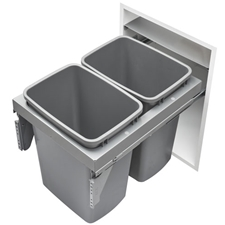 Rev-A-Shelf 53TM-1835GSCDM2-FL Double Top Mount Steel Waste Container - 2x35 qt - Metallic Silver