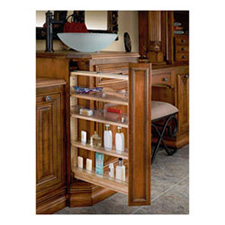 "Rev A Shelf 432-VF26-3 Filler Pull-out Organizer with Adjustable Shelves and 4 Bins - 3"" W x 19"" D x 26"" H - Natural Wood"