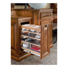 Rev A Shelf 448-VC25-8 Cabinet Pull-out Storage Organizer with Adjustable Shelves and Bins - Wood