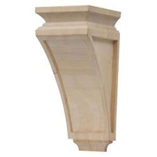 "Grand River CB103 Wood Unfinished Large Mission Corbel - 5 3/4""W x 7 1/2""D x 14""H - Linden Wood"