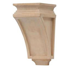 "Grand River CB102 Wood Unfinished Medium Mission Corbel - 4 3/4""W x 5 3/4""D x 9 1/2""H - Linden Wood"