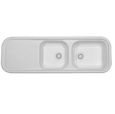 Intro Acrylic White Double Sink With Drain Board