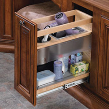 "Rev A Shelf 445-VCG25-8 Cabinet Pullout Grooming Storage for Bathroom - Height: 25"" - Natural Wood"
