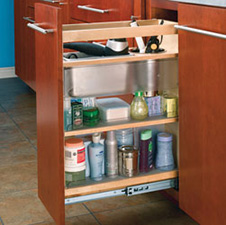 Rev A Shelf 448-VC20-8 Cabinet Pullout Storage with Adjustable Shelves and Bins for Bathroom - Wood