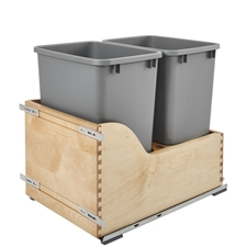 Rev-A-Shelf 4WCSC-1835DM-2 Double 35-QT Bottom Mount Waste Container with Blum Soft-Close Heavy Duty Tandem Slides