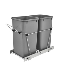 Rev-A-Shelf RV-15KD-17C S Double 35-QT Double Bottom Mount Chrome Wire Waste Containers