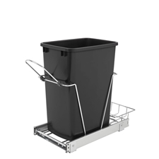 Rev-A-Shelf RV-12KD-18CS Single 35-Quart Pullout Waste Container with rear basket - black
