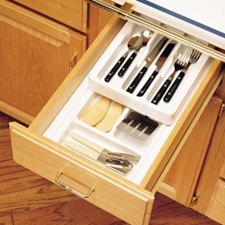 Rev-A-Shelf RT 10-4F Cut-To-Size Cutlery Organizer with Full Upper Rolling Tray 8 3/4-Inch to 11 3/4-Inch