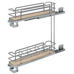 "Rev A Shelf 5322-4-MP 6"" Base Cabinet Pullout 2 Tier Organizer with Soft-Close (Maple)"