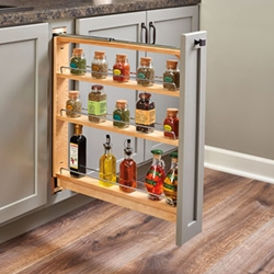 "Rev A Shelf 438-BC-6C 6"" Trimmable Base Cabinet Pullout Organizer with Top Slide and Adjustable Shelves"