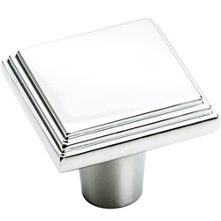 "Amerock BP26117-26 Manor Collection Square Step Knob - 1"" - Polished Chrome"