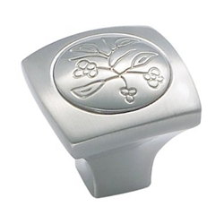 "Amerock BP4475G10 Vineyard Collection New Royal Leaf Square Knob - 1 3/8"" - Satin Nickel"