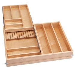 Rev A Shelf 4wtcd 30sc 1 30 Inch Two Tier Cutlery Organizer For Frameless Drawers With Soft Close Natural Maple