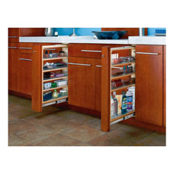 "Rev A Shelf 432-VF30-6 Filler Pull-out Organizer with Adjustable Shelves and 4 Bins - 6"" W x 19"" D x 30"" H - Natural Wood"