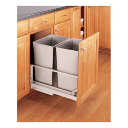 Rev A Shelf 5349 18dm 2ss Double 32 Qt Bottom Mount Soft Close Pull Out Waste Container Stainless Steel