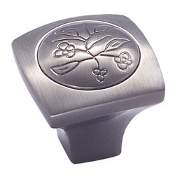 "Amerock BP4475-PWT Vineyard Collection New Royal Leaf Knob - 1 1/8"" - Pewter"