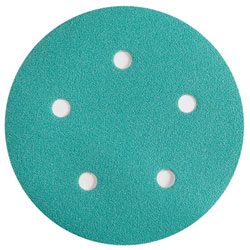 "Wurth 8506372022961 Emerald Sanding Disc - Hook and Loop - 220 Grit - 5"" - 5 Holes - 50 per box"