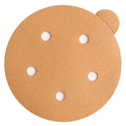 "Wurth 8507372222961 Gold Sanding Discs – Peel & Stick – 220 Grit – 5"" – 5 Holes - 100 per box"