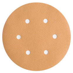 "Wurth 8507333032961 Gold Sanding Discs - Hook and Loop - 320 Grit - 6"" - 6 Hole - 50 per box"