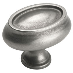 "Amerock BP26127-WN Manor Collection Oval Knob - 1"" x 1 1/2"" - Weathered Nickel"