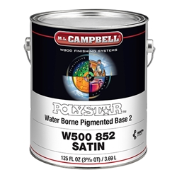 M.L. Campbell W500 852 PolyStar™ Water Borne Lacquer Pigmented Coating - Base 2 - Satin - 1 Gallon