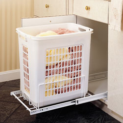 Rev A Shelf HPRV-1520 S Hamper Bottom Mount Wire with Polymer Bin - White
